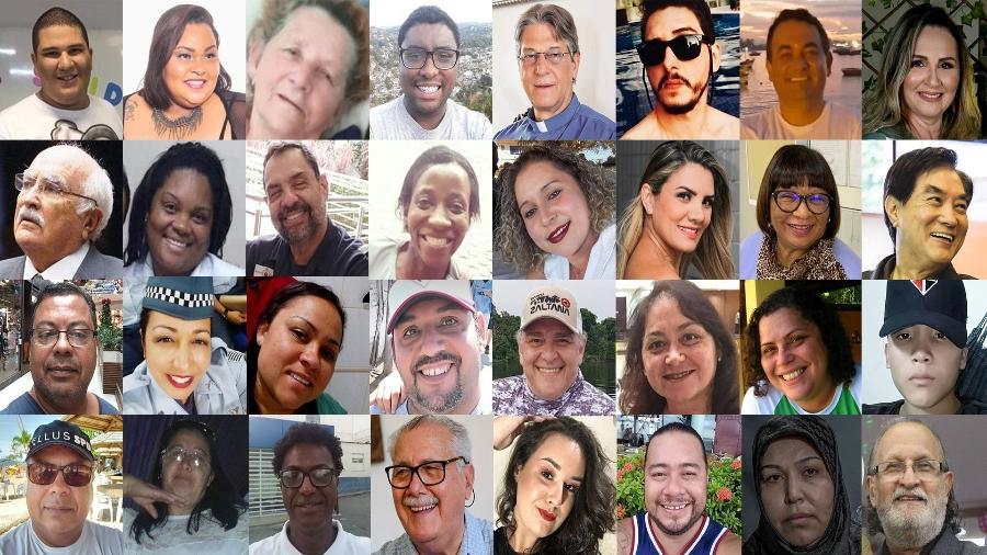 Imagens de vítimas do novo coronavírus no Brasil; país ultrapassou mil mortes em 24h pela doença - Arte/UOL