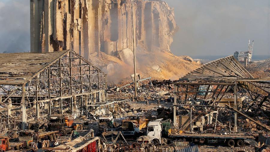 Danos causados por explosão na área portuária de Beirute, no Líbano, em 2020 - Reprodução