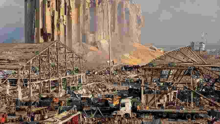 Danos causados por explosão na área portuária de Beirute, no Líbano - Reprodução