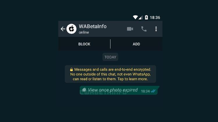 WhatsApp - mensagens autodestrutivas, que se apagam sozinhas após o destinatário visualizar - Reprodução/WaBetaInfo - Reprodução/WaBetaInfo