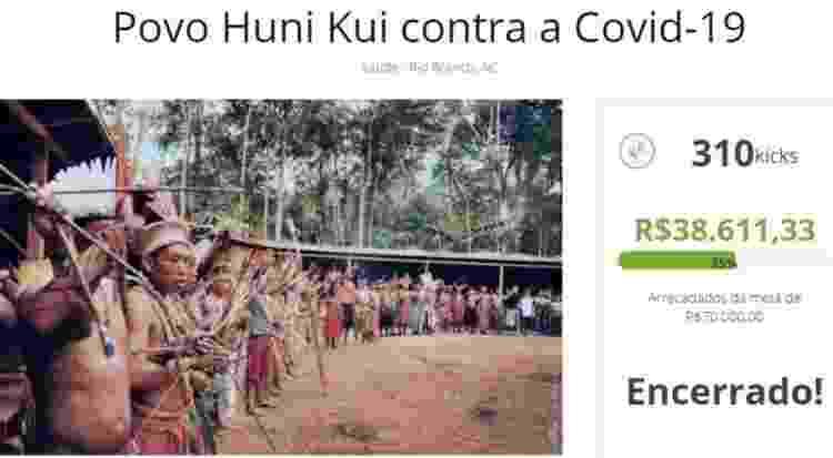 Comunidade fez vaquinha na internet para garantir alimentação e equipamentos médicos para os indígenas - Reprodução - Reprodução