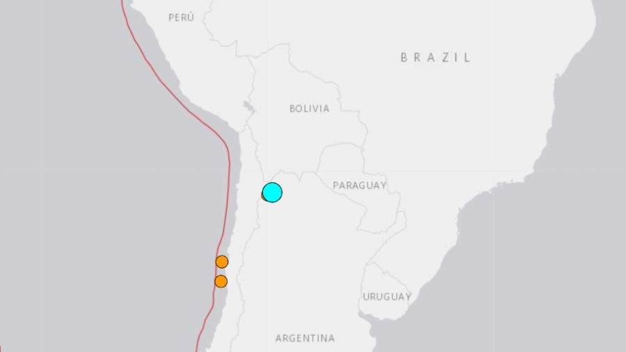 Círculo em azul mostra a região atingida pelo tremor, segundo o Instituto Geológico dos Estados Unidos (UGS)  - Instituto Geológico dos Estados Unidos (UGS)