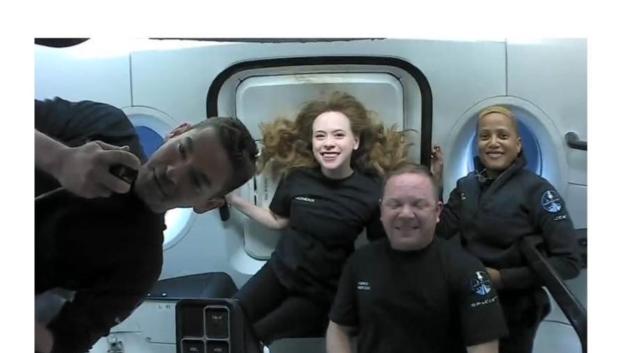Tripulação civil da missão Inspiration4, em parceria com a SpaceX - Reprodução