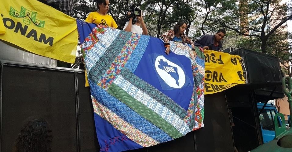 16.jun.2017 - O ato foi organizado pela UNE (União Nacional dos Estudantes) e pela Frente Brasil Popular
