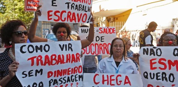 Servidores do Pedro Ernesto protestam contra salários atrasados