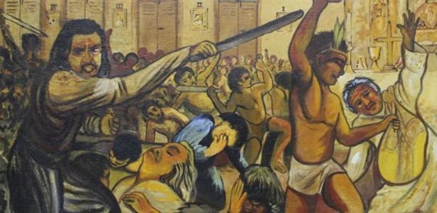 Quadro mostra massacre em Cunhaú, no Rio Grande do Norte. Os mortos identificados serão declarados santos neste domingo