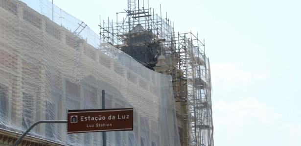 Vista da obra de restauração do Museu da Língua Portuguesa