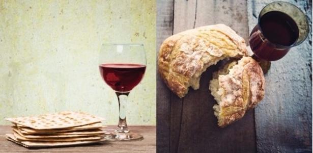 """O """"matzá"""", iguaria judaica, e o pão e vinho, parte de celebrações cristãs; refeições simbolizam episódios importantes da liturgia das religiões - Getty Images"""