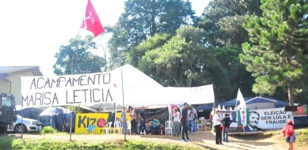 Acampamento Marisa Letícia, no bairro Santa Cândida, em Curitiba. O acampamento foi montado por apoiadores do ex-presidente Lula, que está preso na cidade
