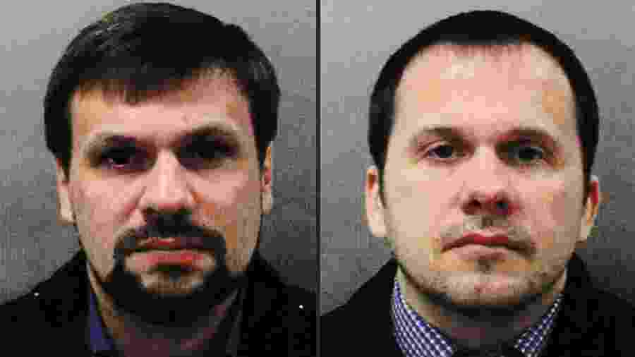 Ruslan Boshirov e Alexander Petrov, cidadãos russos apontados pela polícia britânica como responsáveis pelo envenenamento do ex-espião russo Serguei Skripal e sua filha, Yulia - Metropolitan Police Service / AFP