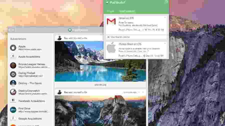 O aplicativo Pushbullet, que permite troca de informações entre celular e computador - Reprodução