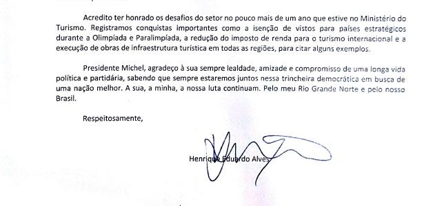 Em carta, Henrique Eduardo Alves pede demissão do Ministério do Turismo