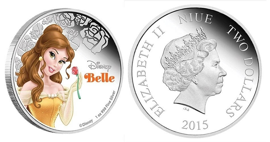 """Moeda de 2 dólares de Niue, ilha do Pacífico que é um território associado da Nova Zelândia, estampada com a Bela, do clássico """"A Bela e a Fera""""; a edição faz parte de uma série especial com princesas da Disney"""