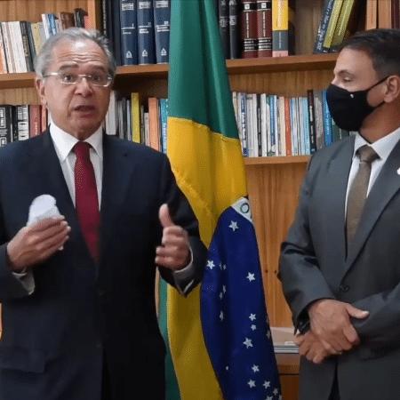 Ministro da Economia Paulo Guedes em vídeo com o senador Márcio Bittar (MDB-AC), relator da PEC emergencial - Reprodução