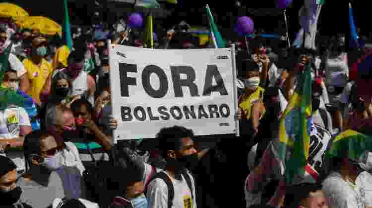 Manifestantes participam de protesto pedindo o impeachment do presidente Jair Bolsonaro, na Avenida Paulista, em São Paulo, em 12 de setembro de 2021 - ALICE VERGUEIRO/ESTADÃO CONTEÚDO - ALICE VERGUEIRO/ESTADÃO CONTEÚDO