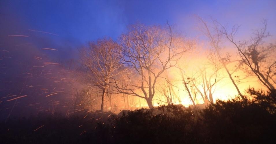 28.dez.2015 - Fogo castiga floresta próxima à aldeia de Barcena Mayor, na Cantábria, Espanha