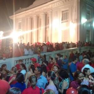 Em Rio Branco (AC), manifestantes se reúnem para protestar a favor do governo - Adriano Costa/via WhatsApp