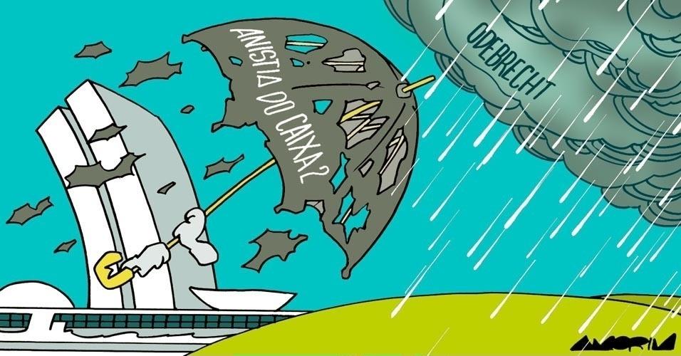 27.nov.2016 - Em Brasília, políticos se protegem como podem do temporal que se aproxima