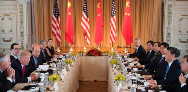 7.abr.2017 - Trump durante encontro com o líder chinês Xi Jinping em Mar-a-Lago, na Flórida