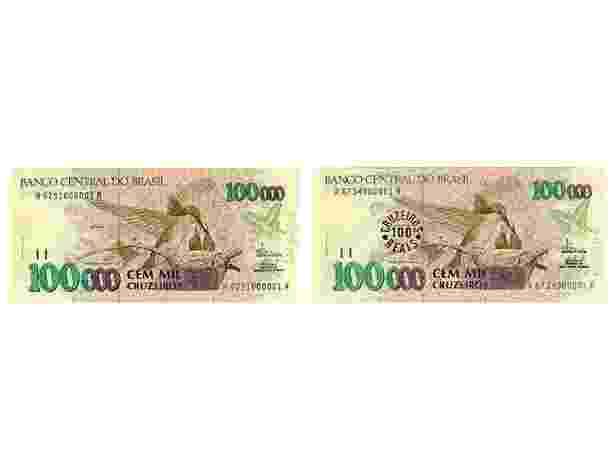 Brasil: Uma curiosidade é que o beija-flor não apareceu pela primeira vez em um dinheiro brasileiro na nota de R$ 1. A mesma imagem já tinha ilustrado a nota de 100 mil cruzeiros, em 1992, e na reimpressão de 100 cruzeiros reais, em 1993 - Reprodução/Banco Central