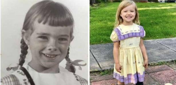 Seguindo tradição familiar, mãe e filha usam o mesmo vestido em 1º dia de aula