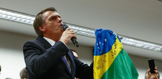 7.mar.2018 - O deputado e pré-candidato à Presidência Jair Bolsonaro (RJ) durante ato de filiação ao partido PSL