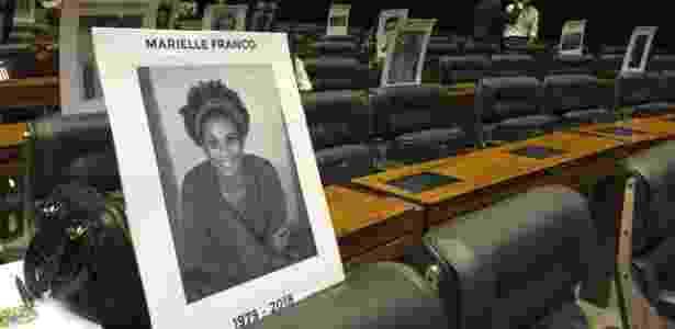 Cartaz em homenagem a Marielle Franco é exibido na Câmara dos Deputados - Luciana Amaral/UOL - Luciana Amaral/UOL