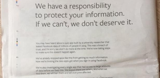 Facebook pede desculpas por escândalo político em anúncio nos jornais
