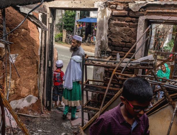 Casa destruída de Adbul Basith que morreu em um ataque feito por budistas no Sri Lanka