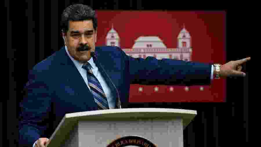 O presidente da Venezuela, Nicolas Maduro, durante coletiva de imprensa no palácio Miraflores, em Caracas - Federico Parra/AFP