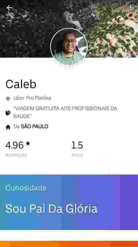 """Motorista de Uber Caleb leva profissionais da saúde sem cobrar: """"Vocês estão fazendo tanto por nós"""" - Arquivo pessoal"""