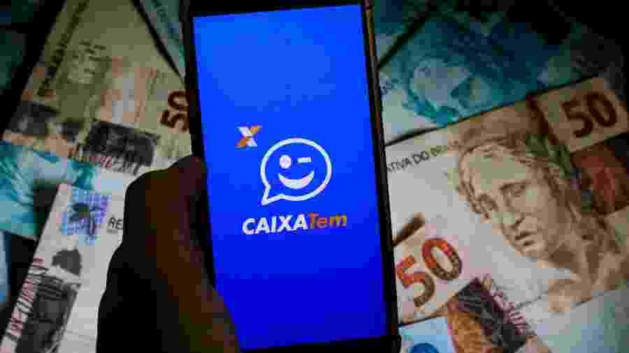 Imagem do app Caixa Tem, onde beneficiários podem consultar a situação do auxílio emergencial - Viviane Lepsch/Zimel Press/Estadão Conteúdo