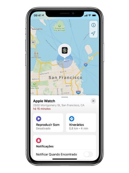Interface do app Buscar, do iPhone, mostrando a localização de um Apple Watch - Divulgação - Divulgação