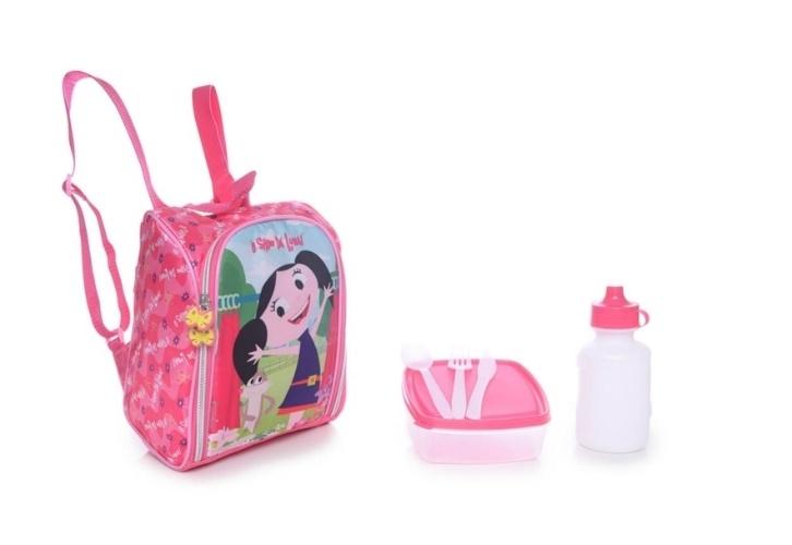 """Lancheira infantil Pacific """"O Show Da Luna"""" Garden Pink. O produto vem com garrafa e porta-lanche e sai a R$ 84,90 no site Tricae"""
