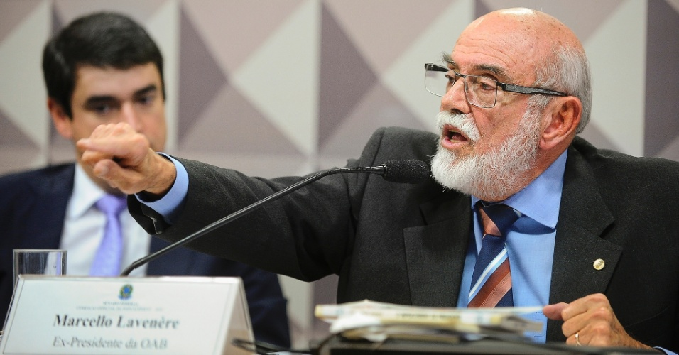 3.mai.2016 - O ex-presidente da OAB (Ordem dos Advogados do Brasil), Marcello Lavenère, fala durante sessão da comissão especial de impeachment, no Senado