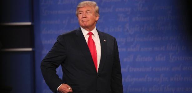 O candidato republicano Donald Trump durante o último debate presidencial