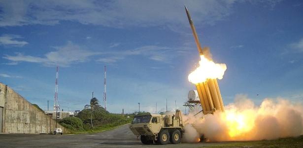 Sistema antimísseis THAAD em teste em imagem divulgada pelo Departamento de Defesa dos EUA