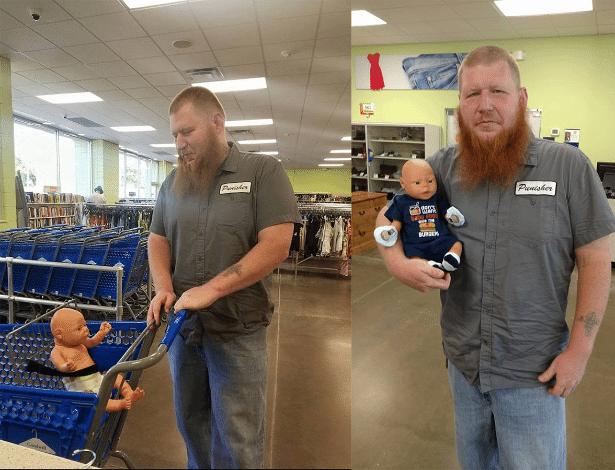 Keenan Watkins levou a boneca de sua filha para fazer compras