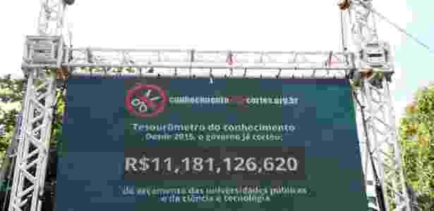Contador digital foi instalado na Praia Vermelha, no Rio, com o objetivo de denunciar as perdas do financiamento federal voltado para as áreas de ciência e tecnologia - Tânia Rego/Agência Brasil