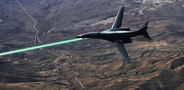 Ilustração de uma aeronave acoplada com laser