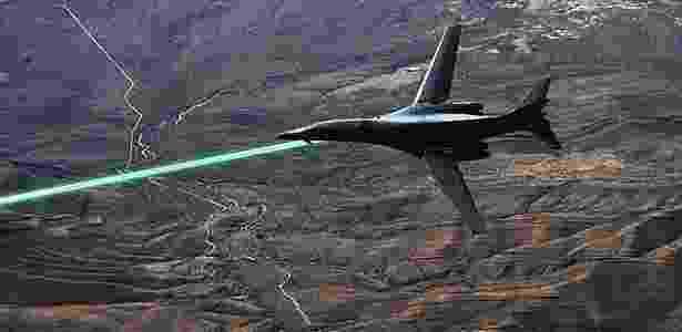 Ilustração de uma aeronave acoplada com laser - Reprodução/DailyMail