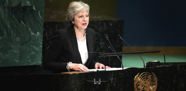 26.set.2018 - A primeira-ministra britânica Theresa May - Chang W. Lee/The New York Times