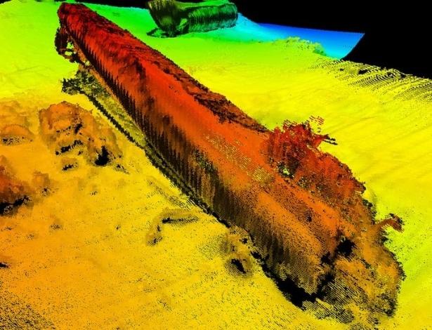 Imagens captadas por sondas mostram que o U-864 está a 150 metros de profundidade - Kystverket / Norwegian Coastal Administration