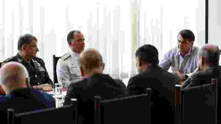 Em março, Bolsonaro se reuniu com chefes das Forças Armadas antes de entregar ao Congresso a reforma da Previdência dos militares - Marcos Corrêa/Presidência da República