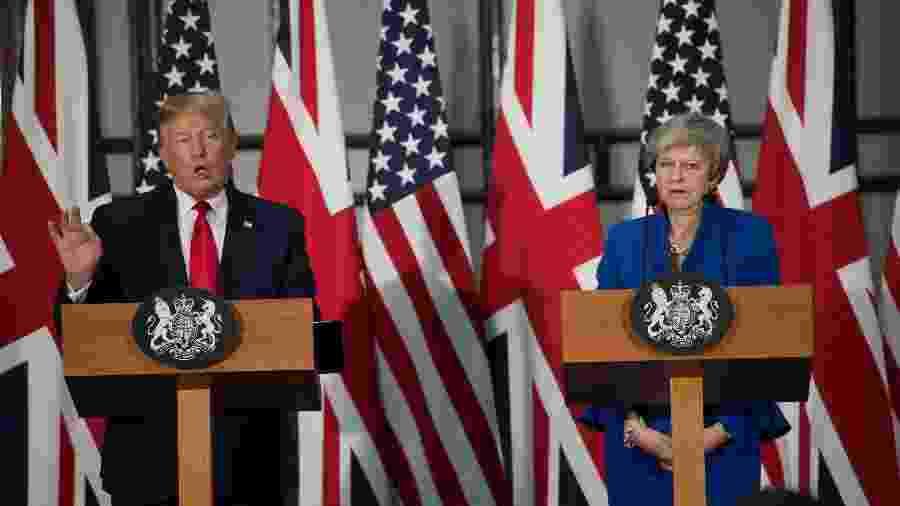 4.jun.2019 - O presidente dos Estados Unidos, Donald Trump, e a primeira-ministra do Reino Unido, Theresa May, em conferência de imprensa em Londres - David Rose/Pool via Reuters