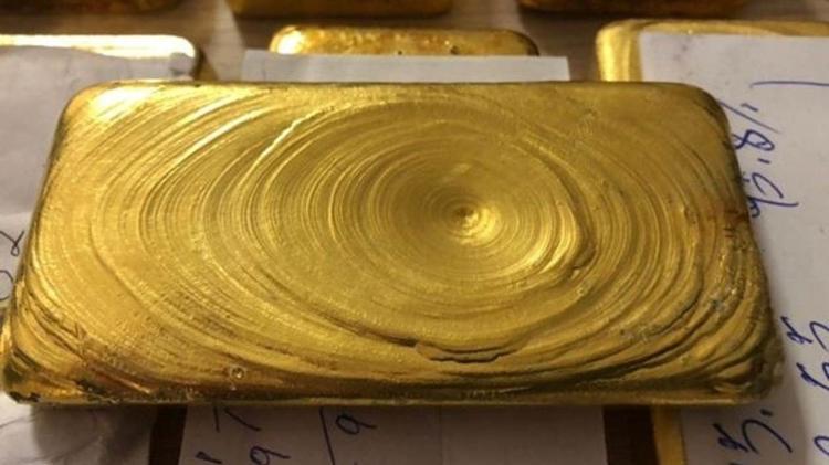 Barras de ouro avaliadas em R$ 1,3 milhão apreendidas pela Polícia Federal no aeroporto de Boa Vista, em 2018 - Polícia Federal