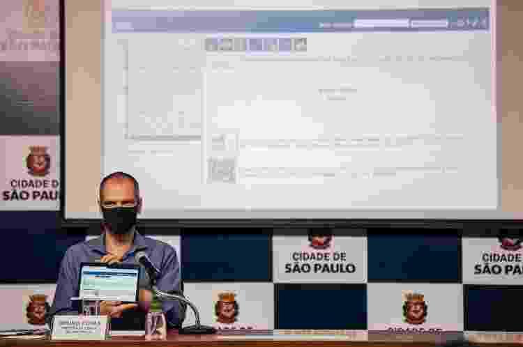 O prefeito Bruno Covas (PSDB) após assinatura do protocolo de funcionamento dos shoppings durante a pandemia - Divulgação - Divulgação