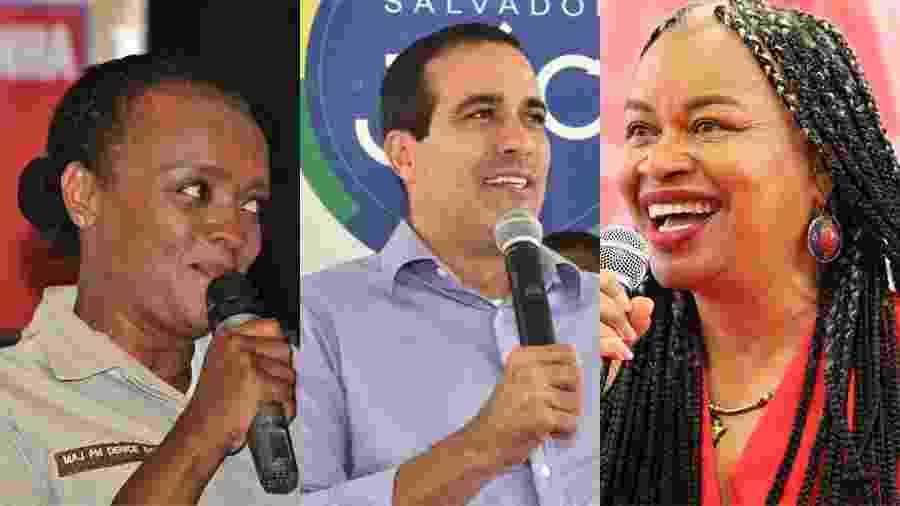 Major Denice (PT), Bruno Reis (DEM) e Olivia (PCdoB), candidatos à Prefeitura de Salvador - Arte UOL