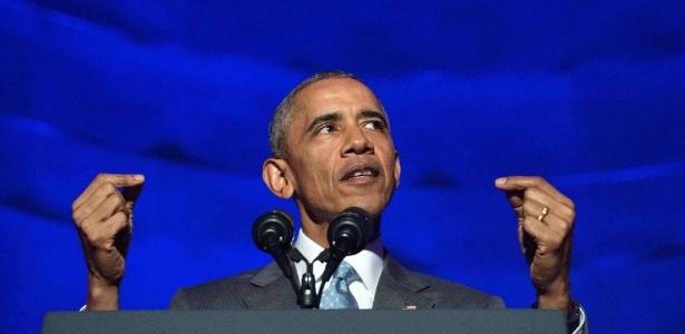 O presidente dos EUA, Barack Obama, faz discurso durante premiação de jornalismo político em Washington D.C.