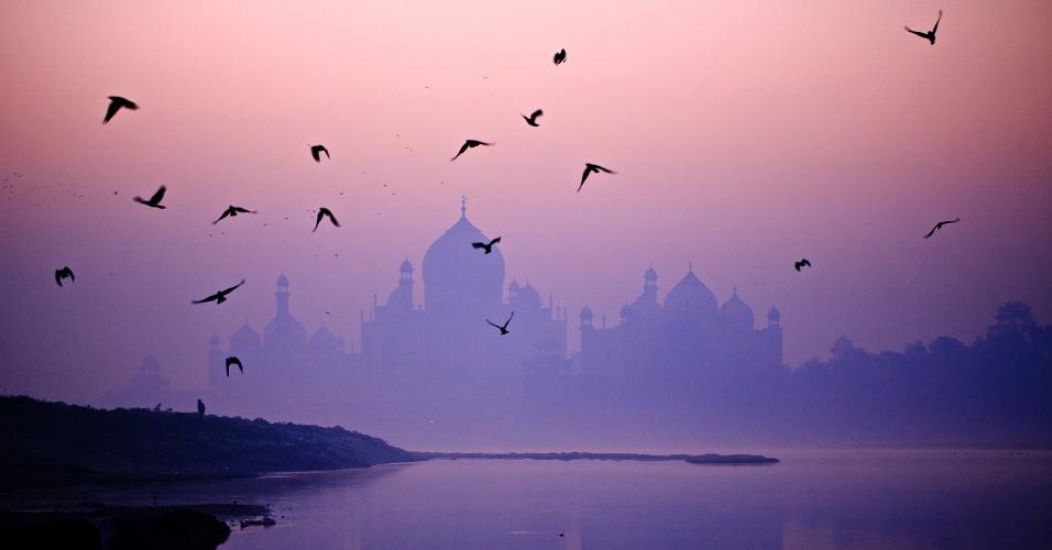 17.ago.2016 - Pássaros voam sobre o rio Yamuna, em frente ao Taj Mahal. Muitos hindus acreditam que banhando-se no Yamuna, um dos rios mais sagrados da Índia, seus pecados serão lavados e terão proteção contra a morte